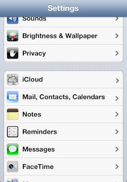 Tap Apple Mail COntacts Calendars
